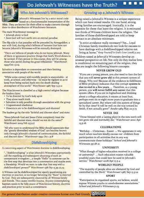 printable pamphlet explaining basics of being a Jehovah's Witness