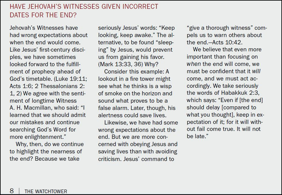 Discussion of Watchtower claims to be Jehovah's Prophet