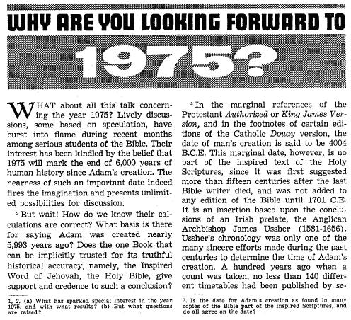 1975 - Watchtower Quotes to show what really was predicted